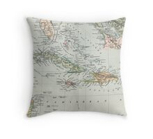 Vintage Map of The Caribbean (1892) Throw Pillow