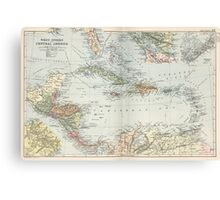Vintage Map of The Caribbean (1892) Canvas Print