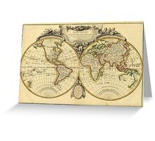 Old Fashioned World Map (1782) Greeting Card