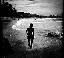 Silhouette of a lady, Terrigal Beach, NSW by Mamafro