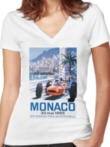 Monaco F1 Classic 1965 Women's Fitted V-Neck T-Shirt