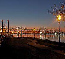 Natchez Mississippi River Bridge at Sunset by wolfepaw
