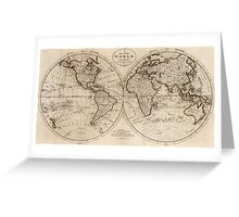 Old Fashioned World Map (1795) Greeting Card