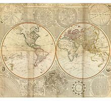 Vintage Map of The World (1799) 2 Photographic Print