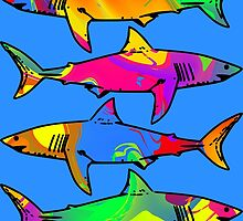 Colorful Sharks by ChrisButler
