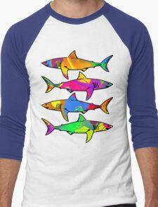 Colorful Sharks Men's Baseball ¾ T-Shirt