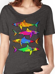 Colorful Sharks Women's Relaxed Fit T-Shirt