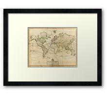 Vintage Map of The World (1800) Framed Print
