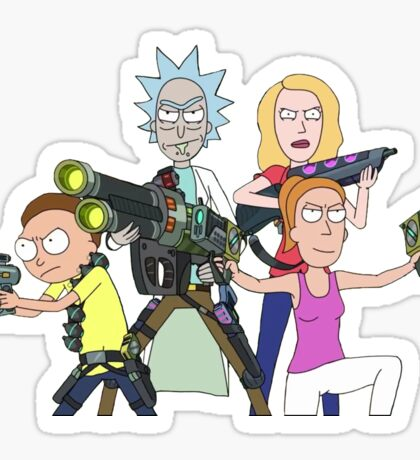 Rick and Morty-- Gun fight Sticker