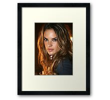 Victoria's Secret model Alessandra Ambrosio poses in Cipriani NY Framed Print