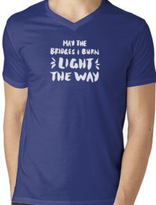 Burned Bridges – Black & White Mens V-Neck T-Shirt
