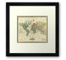 Vintage Map of The World (1823) Framed Print