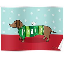 Holiday Peace Dachshund Poster