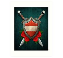 Austrian Flag on a Worn Shield and Crossed Swords Art Print