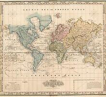 Vintage Map of The World (1823) 2 by BravuraMedia