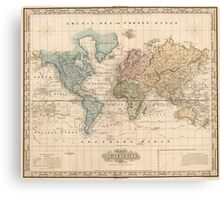 Vintage Map of The World (1823) 2 Canvas Print