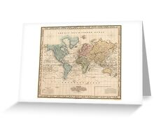 Vintage Map of The World (1823) 2 Greeting Card