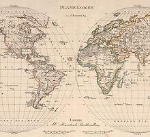 Vintage Map of The World (1827) 2 by BravuraMedia