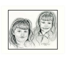 The Blevin's Girls Portrait Drawing Art Print