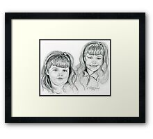 The Blevin's Girls Portrait Drawing Framed Print