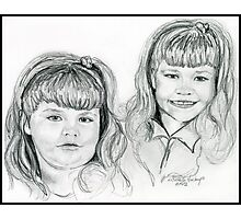 The Blevin's Girls Portrait Drawing Photographic Print