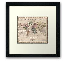 Vintage Map of The World (1833) Framed Print