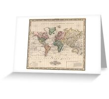 Vintage Map of The World (1833) Greeting Card