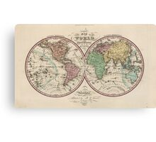 Vintage Map of The World (1842) Canvas Print