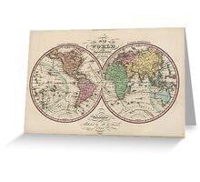 Vintage Map of The World (1842) Greeting Card