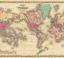 Vintage Map of The World (1860) by BravuraMedia