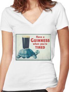 vintage Guinness beer ad Women's Fitted V-Neck T-Shirt
