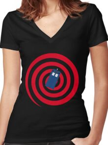 Time Vortex Women's Fitted V-Neck T-Shirt