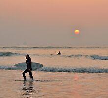 Sunset Surfer, Perranporth by jonshort58