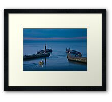 Whitby harbour at dusk Framed Print