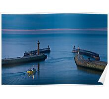Whitby harbour at dusk Poster