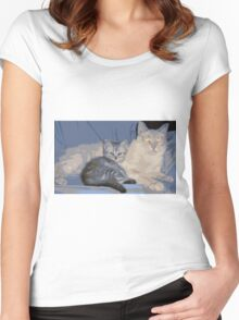 PAPA KITTY BABY KITTY Women's Fitted Scoop T-Shirt