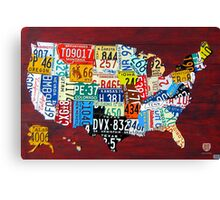 License Plate Map of The United States 2011 Canvas Print