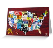 License Plate Map of The United States 2011 Greeting Card