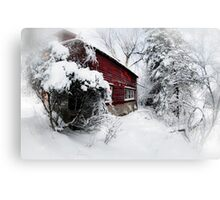 Red Barn Abandoned  Canvas Print