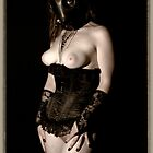 Art of Fetish female lingerie gas mask sepia fine ART photography PRINT - Wanted - 1 by tree3art