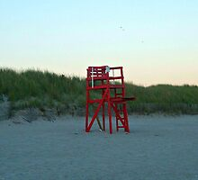 Lonely Red Lifeguard Chair on Second Beach, Middletown, RI by Jane Neill-Hancock