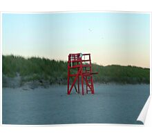Lonely Red Lifeguard Chair on Second Beach, Middletown, RI Poster