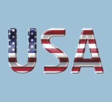 USA - American Flag - Metallic Text Kids Tee