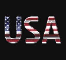 USA - American Flag - Metallic Text One Piece - Long Sleeve