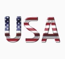 USA - American Flag - Metallic Text Baby Tee