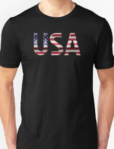 USA - American Flag - Metallic Text T-Shirt