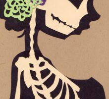 Skeleton with purple & green flowers Sticker