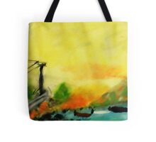 Misty morning for a day on lake, watercolor Tote Bag