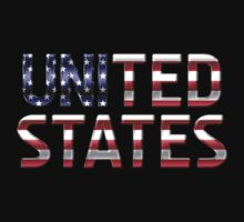 United States - American Flag - Metallic Text One Piece - Short Sleeve