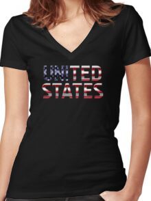 United States - American Flag - Metallic Text Women's Fitted V-Neck T-Shirt